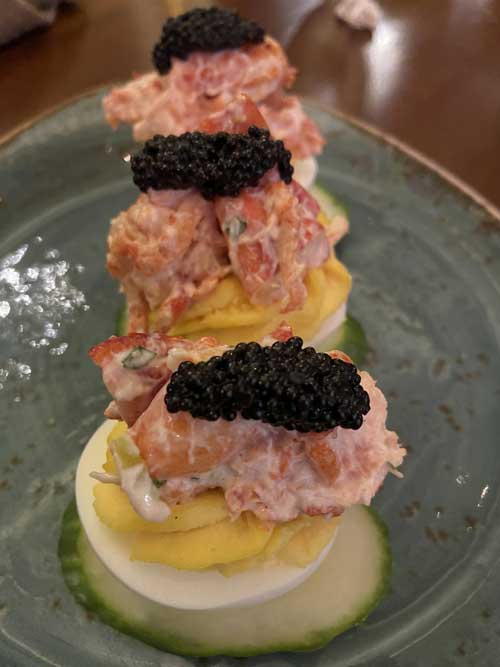 Deviled Egg's topped with Maine Lobster and Caviar.